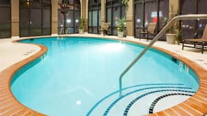 Indoor pool, open 8:00 AM to 11:00 PM, sun loungers