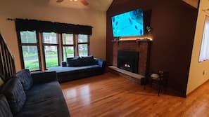 Smart TV, fireplace, table tennis table