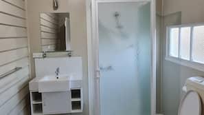 Shower, hair dryer, toilet paper