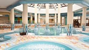 Indoor pool, outdoor pool, open 10 AM to 8 PM, pool loungers
