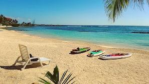 Private beach, white sand, kayaking