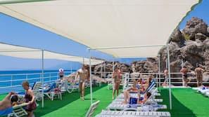 Private beach nearby, sun-loungers, beach bar