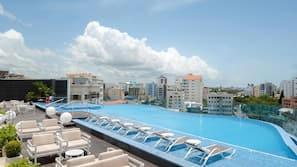 Outdoor pool, open 6:30 AM to 9:00 PM, sun loungers