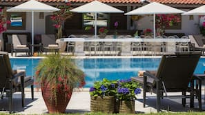 Outdoor pool, open 7 AM to 8:30 PM, pool umbrellas, pool loungers