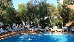Seasonal outdoor pool, open 8 AM to 8 PM, pool umbrellas, pool loungers