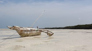 Sulla spiaggia, lettini da mare, teli da spiaggia, pesca