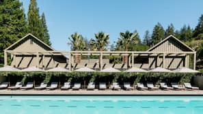 3 outdoor pools, open 6:00 AM to 8:00 PM, pool umbrellas, pool loungers