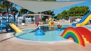 Indoor pool, seasonal outdoor pool, free pool cabanas, pool umbrellas