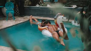2 outdoor pools, open 9:00 AM to 9:00 PM, pool umbrellas, sun loungers
