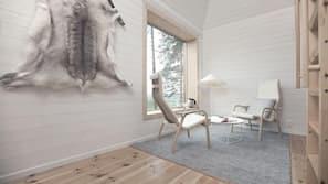 Minibar, individuell inredning, unika möbler och mörkläggningsgardiner