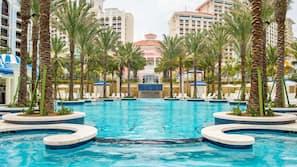 8 outdoor pools, cabanas (surcharge), pool umbrellas