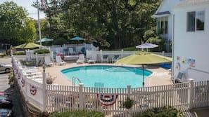 Seasonal outdoor pool, open 9 AM to 9 PM, pool umbrellas, sun loungers