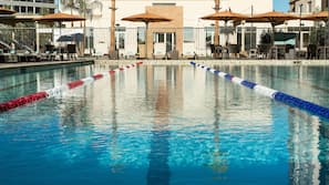Outdoor pool, open 6 AM to 11 PM, free cabanas