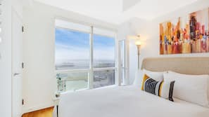 Premium bedding, laptop workspace, iron/ironing board, free WiFi