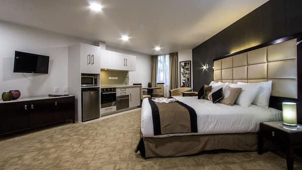 Premium bedding, pillow top beds, minibar, desk