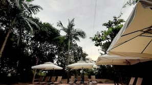 Outdoor pool, open 8:00 AM to 7:00 PM, pool umbrellas, sun loungers
