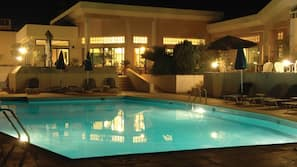 2 outdoor pools, open 9:00 AM to 6:30 PM, pool umbrellas, pool loungers