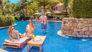 2 outdoor pools, open 6 AM to 9 PM, free cabanas, pool umbrellas