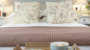 Egyptian cotton sheets, premium bedding, down duvets, desk