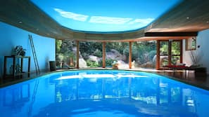 Indoor pool, open 9:30 AM to 8:00 PM, free cabanas, sun loungers