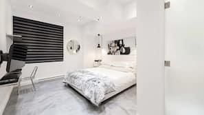 1 bedroom, premium bedding, memory foam beds, laptop workspace