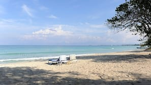 On the beach, white sand, scuba diving, snorkeling
