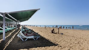 Private beach nearby, sun-loungers, beach umbrellas, beach volleyball