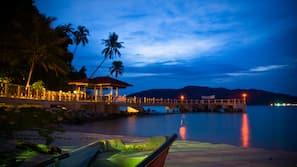 On the beach, sun-loungers, beach massages, snorkelling