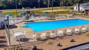 Seasonal outdoor pool, open 9 AM to 10:00 PM, pool umbrellas