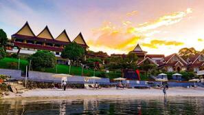 Private beach, white sand, beach shuttle, beach bar