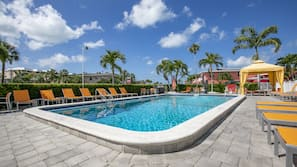 2 outdoor pools, open 6:00 AM to 9:00 PM, free pool cabanas