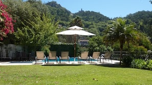 Outdoor pool, open 8:30 AM to 8 PM, sun loungers