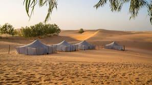 Sábanas de algodón egipcio, colchones Tempur-Pedic, escritorio