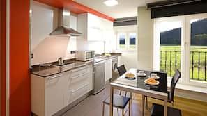Mini-fridge, microwave, stovetop, toaster