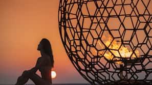 전용 해변, 비치 카바나, 일광욕 의자, 비치 파라솔