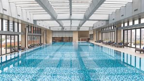 Indoor pool, open 7:30 AM to 9:00 PM, lifeguards on site