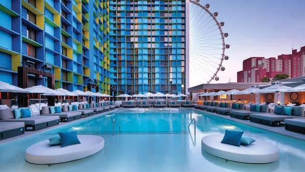 Seasonal outdoor pool, pool cabanas (surcharge), pool umbrellas