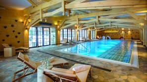Indoor pool, open 8:00 AM to 10:00 PM, sun loungers, lifeguards on site