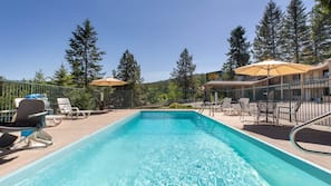 Seasonal outdoor pool, open 9:00 AM to 11:00 PM, sun loungers