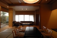 Family Room with Tatami Area and Private Open-Air Bath with Mountain View