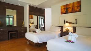 3 bedrooms, premium bedding, in-room safe, individually decorated