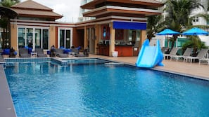Outdoor pool, open 7:00 AM to 2:00 PM, pool umbrellas, sun loungers