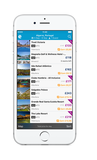 Earn 5% on hotel and 2% on flights when you book through our app – that means you earn MORE in app!