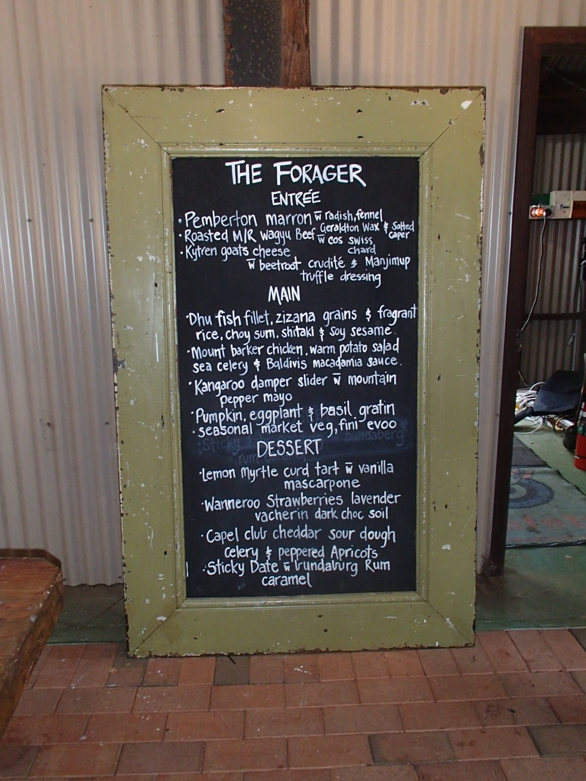 The Forager lunch menu