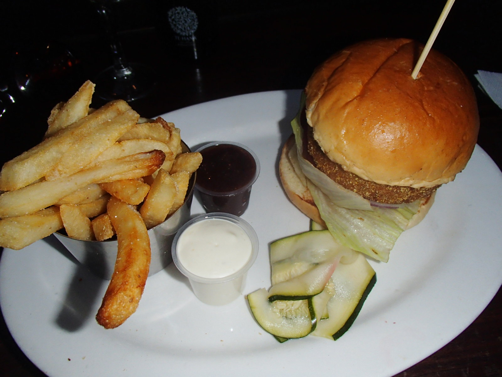 Committing carbacide with a Veggie Burger at Settlers Inn.