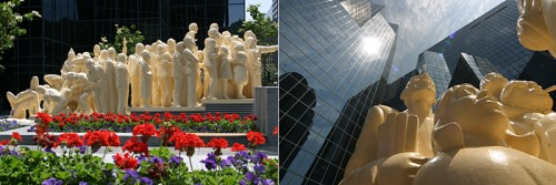 """The Illuminated Crowd"" statue in Montreal, Quebec, Canada"