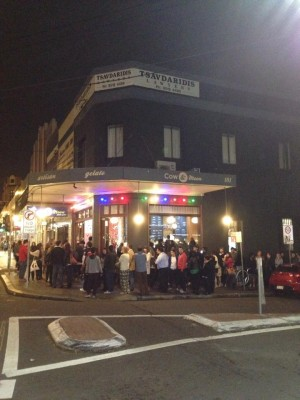 Lines around the block! Image courtesy of Cow and the Moon.