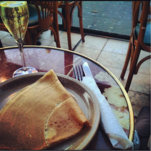 You talk… I'm going to sit here, listen, and devour my crepe and champagne