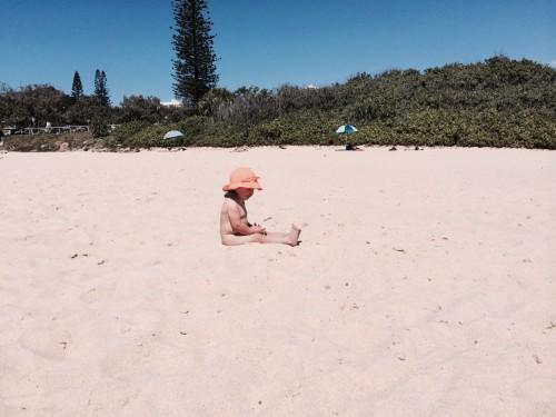 Enjoying the uncrowded beach