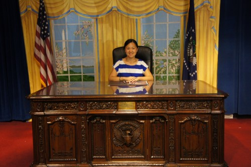 Playing President at White House Gifts (located across the street from the White House), Washington D.C.